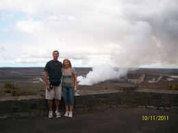 Lance and Julie at the lookout of the volcano at Big Island , Julie J - October 2011