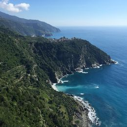The view of Corniglia while hiking on trail between Corniglia and Vernazza. , Justin H - October 2015