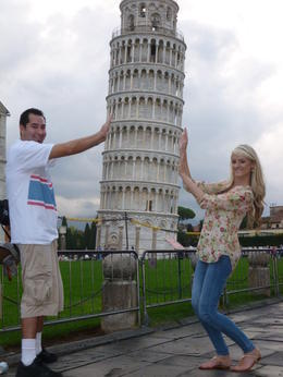 Silly photo with the leaning tower of Pisa , Amber O - October 2014