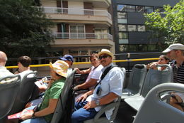 Riding the rooftop of the Barcelona City Tour bus. Recommend ride on one side of the bus one way and try to ride on the other side the next time. , Elmer R - August 2012