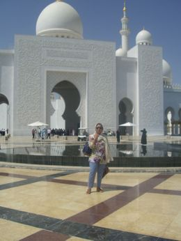 Photo of Dubai Abu Dhabi City Sightseeing Tour - The Arabian Jewel Standing outside the Mosque in Abu Dhabi
