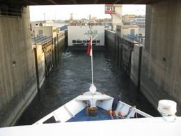 Boat going through one of the locks at Ensa on the Nile. Interesting process. , Ronald M - September 2011