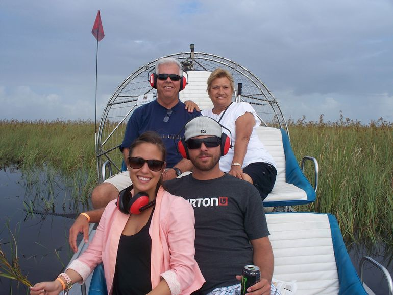 Mike, Lodi, Lathena and Cory on our first airboat tour in the Everglades!