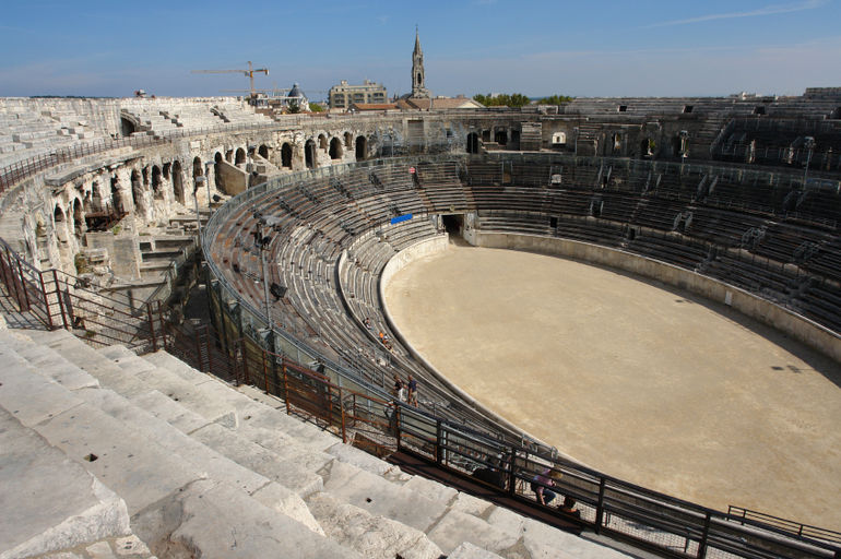 View from the top of Roman Colosseum, Nimes, France - Avignon
