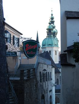In Salzburg on the path to Stiftnonnberg, looking back down Festungsgasse., Mary M - February 2008