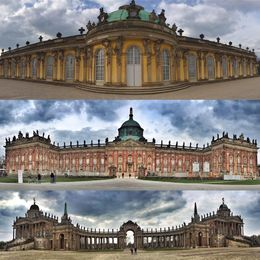 Neues Palais, top, Sanssouci middle and Potsdam University, Bottom , Ouida L - April 2016