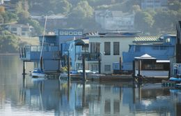 These houses don't actually float, but they are a quirky bit of real estate built on some old docks. - October 2009