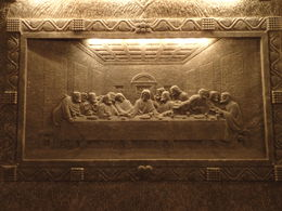 This amazing carving is cut from salt on the wall of one of the rooms within the salt mine , Anna J - February 2015