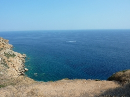 View of the Aegean Sea from on top of Cape Sounion, Cory - July 2010