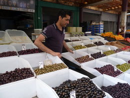 Olives by the Kg and cheap in the Athens Fresh food market. , Megan Bruynel - June 2013