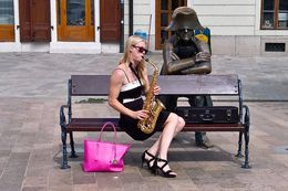 Beautiful and talented saxophonist playing for stiffed Napoleonic soldier , vietdiaspora - June 2016
