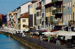 Walking through canal area on Navigli Canal tour. , Valerie S - July 2015