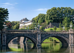 The Imperial Palace, behind the Nijubashi Bridge in Tokyo's Chiyoda district - May 2011