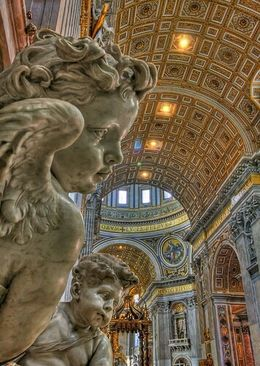 Cherub Angels overlooking the Baldacchino of St. Peter's Basilica, Michael S - December 2009