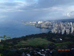 This is the amazing view from the top of the crater, Waikiki on the right. , MAREE W - October 2013