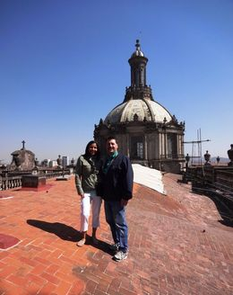 ON the roof of the church capula's with stunning views of Mexico City , Ana M L - April 2014