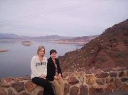 Janet and Marlene at the look out on the way home from Hoover Dam. The trip was part of the Power Pass which included coach bus from our Las Vegas hotel. - January 2008