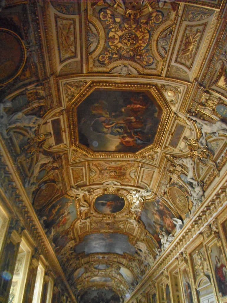 Ornate ceiling in the Louvre - Paris