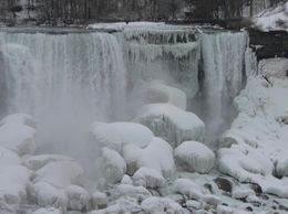 Close-up of the ice on the American Falls from the Canadian side., Judith S - April 2008