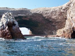 Guano-covered rock forms arches over the deep blue sea at Ballesta Islands, Tim Leffel - August 2011