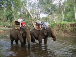 Photo of Bangkok Khao Yai National Park and Elephant Ride Day Trip from Bangkok Owen family on elephant back