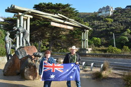 Thanks to Tom the driver he had an Australian flag to use as a photo prop. This is at the start of the GOR. , sismartin - June 2015