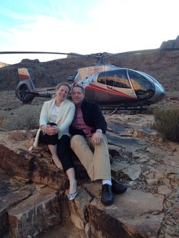 My husband and I posing in front of our helicopter on our recent trip to the Grand Canyon! , Jodi B - January 2014