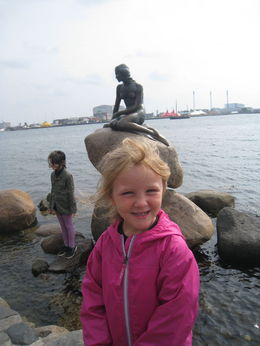 Photo of Copenhagen Copenhagen Panoramic City Tour with Harbor Cruise My daughter by the statue of the Little Mermaid