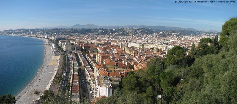 Panoramic view of Nice city from Castle Hill