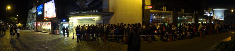 The queue for the Peak Tram return - Hong Kong