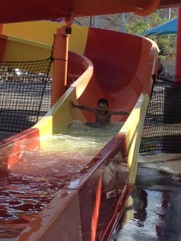 Noah coming down the slide - August 2013