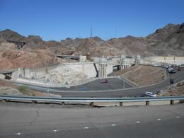 Not you typical front view of the dam. You can see the Lake Mead side of the dam, the intake towers and hte Arizona spillway. , LINWOOD M - May 2014