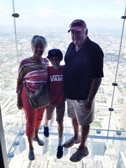 Photo of Chicago Skydeck Chicago Admission Matthew, Nana and Bops  and quot;hanging out and quot; in the air!