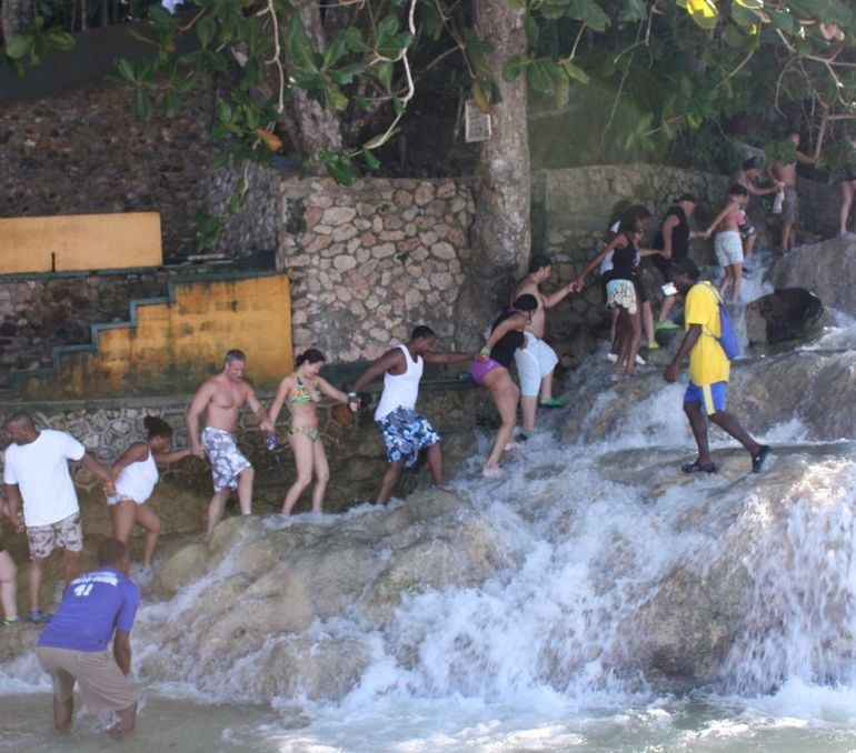 Ocho Rios: Our group climbing the falls -