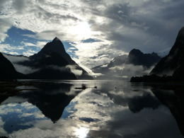 Weather clearing over the Sound for the afternoon cruise around Mitre Peak , Ian M - May 2012