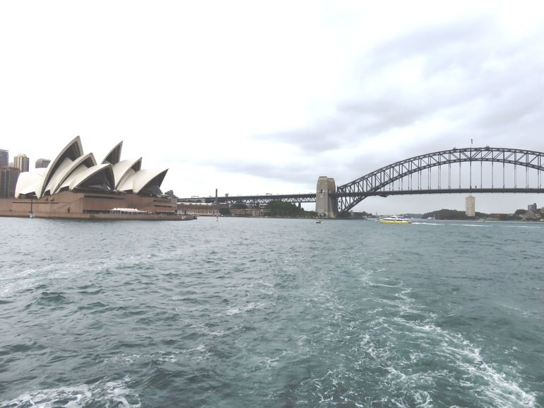 Pic of Harbour Bridge and the Sydney Opera House taken during our lunchtime harbour cruise.