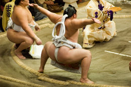 Sumo Wrestling: A Yokozuna performing the ceremonial Dohyo-iri. - May 2011
