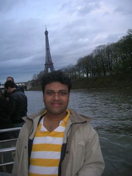Standing in front of the Eiffel Tower, Mahesh Mane - April 2010