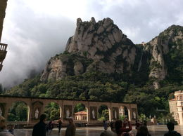 Photo of Barcelona Small-Group Montserrat Tour from Barcelona: Wine and Cheese Tasting with Optional Golf Round Montsarrat in fog on arrival-amasingly this cleared in less than an hour