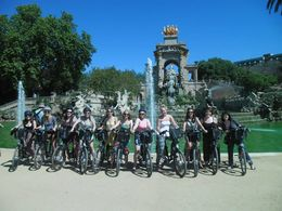 Photo of Barcelona Barcelona Electric Bike Tour: Montjuic, Gaudi or Bohemian Neighborhoods Experience Photo of the girls on our Gaudi tour