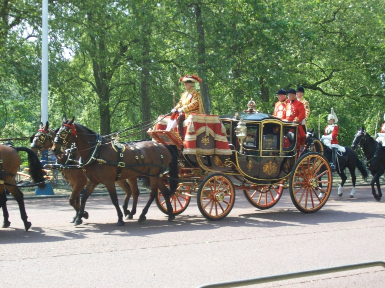 Opening of Parliament and the Queen's speech on May 25, 2010. This carriage has members of the royal family.