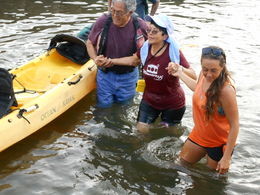 We did not fall in the river specifically-------two in our party fell as they were disembarking the kayak----it was hilarious. Michelle felt so bad that she doused herself also....... , Dennis S - May 2016