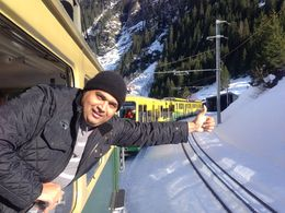 he second train takes a while to get to the top inside the mountain with two stops on the way to get out for 5 minutes to view the look out from the observatory windows. , Malik A - December 2013