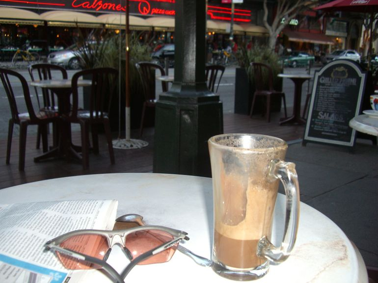 Caffe mocha at Caffe Greco, North Beach, SF - San Francisco