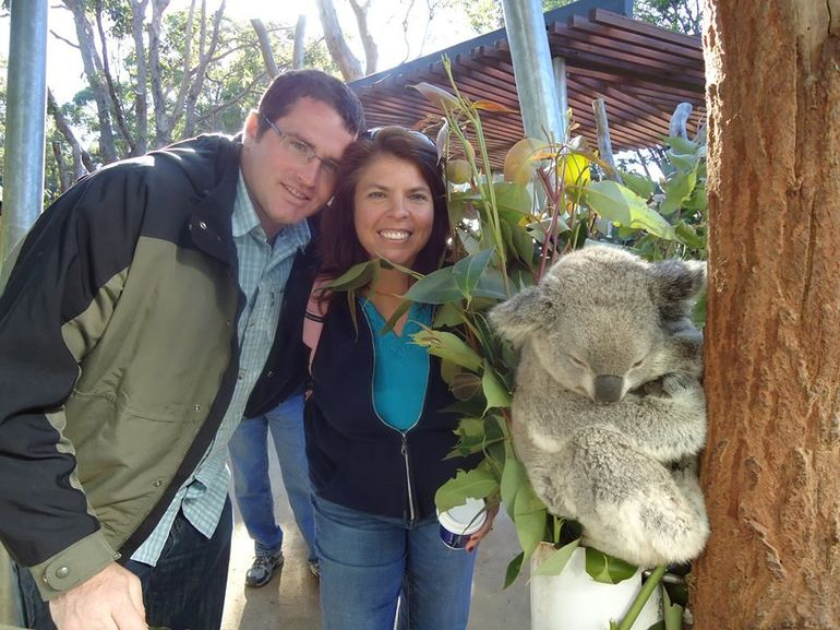 Jon  and  Michelle with a koala at Taronga Zoo - Sydney