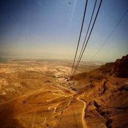 On the tram going up to Masada looking down at the snake path and the Dead Sea in the back. , katreilla_sf - September 2015