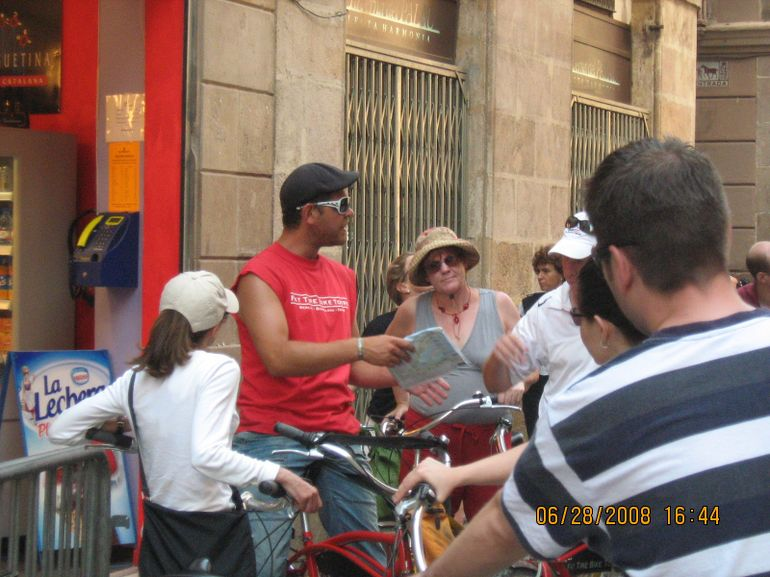 Our tour guide giving us the scoop - Barcelona