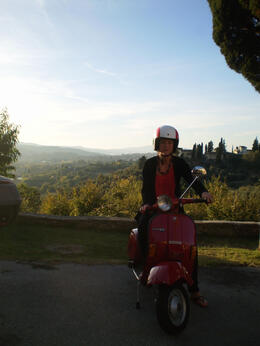 The highlight of our trip. Travelling through beautiful Tuscan countryside on a vintage Vespa. How cool do I look ? ;) , Sally J - November 2014