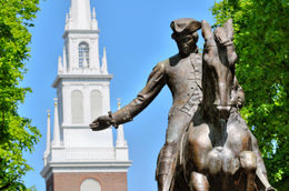 Paul Revere statue in Boston Freedom Trail, a national landmark and major tourist attraction. Old North Church steeple in the back. - May 2011
