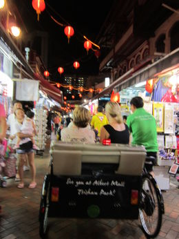 Getting ready for the trishaw race through chinatown streets during Singapore Chinatown Trishaw Night Tour , Anthony R - March 2012
